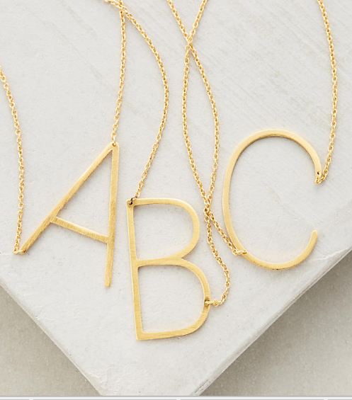 Anthropologie initial pendants—a bunch of good necklaces for layering