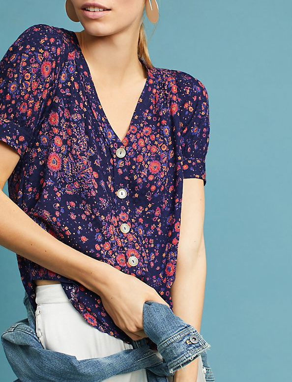anthro floral blouse