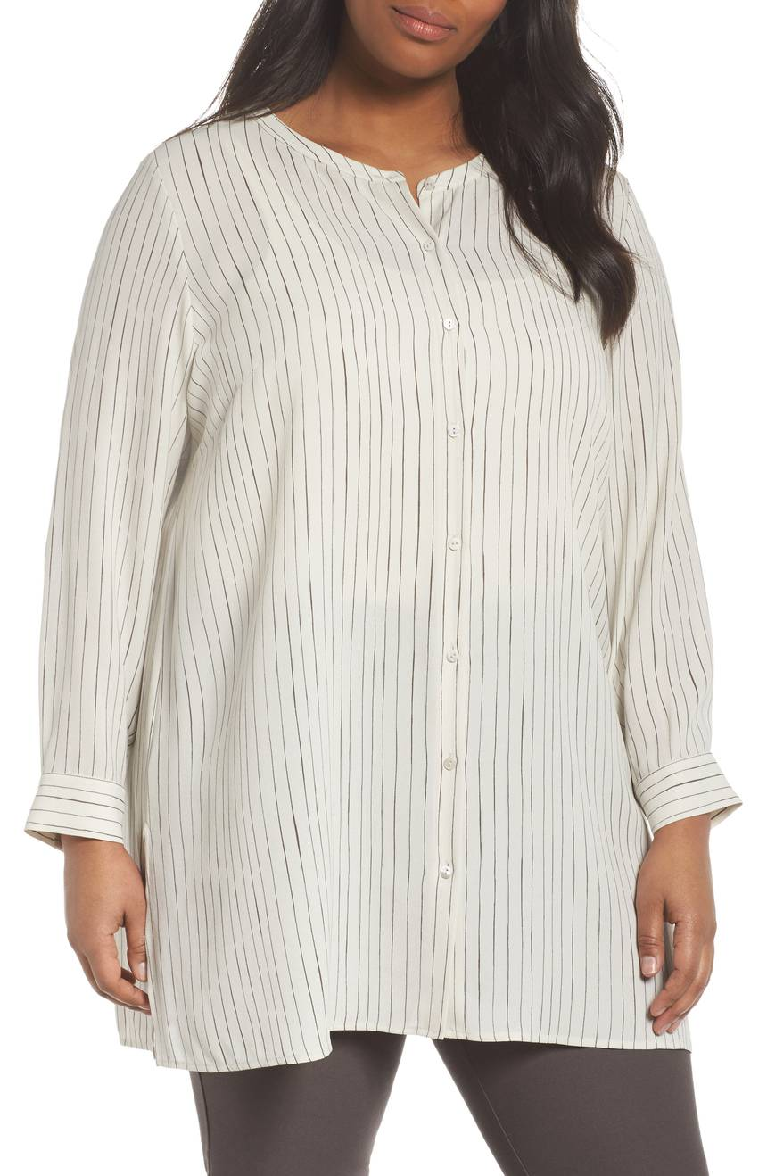 eileen fisher striped silk top