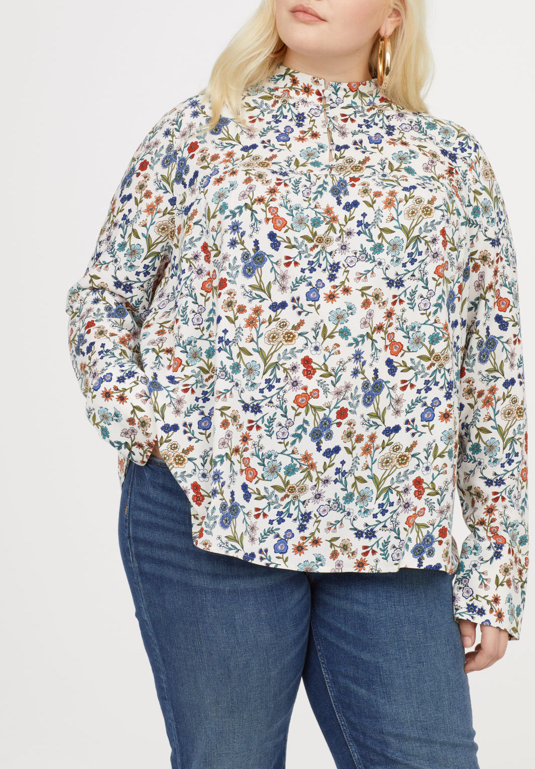 h&m extended floral shirt